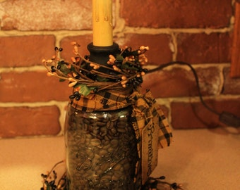 Antique Blue Ball Mason Jar with Low Wattage Candelabra Light Pip Berries and Primitives Tag
