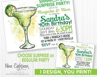 Surprise Margarita Party Invitation. Birthday Invitation. Customized Printable PDF/JPG.