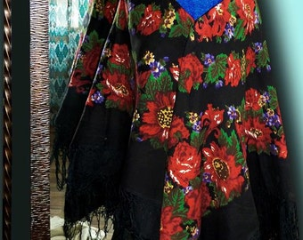 old uzbek russian shawl huge oversized fall winter scarf folk hippie t263