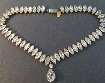 Miriam Haskell Signed Rhinestone Necklace.  Free shipping