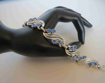 Vintage Silver Tone & Capri Blue Rhinestone Bracelet