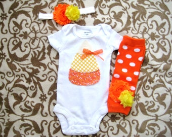 Baby Girl Halloween outfit, Candy Corn Top & Headband with Leg Warmers, Halloween Outfit for baby girls, Halloween CandyCorn bodysuit