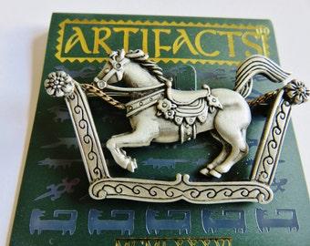 JJ Jonette Articulating Rocking Horse Or Carousel Horse Brooch Pin