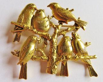 JJ Jonette Shiny Gold Tone Flock Of Birds In Tree Brooch Pin