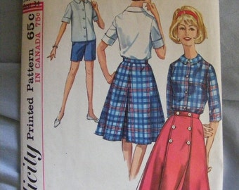 51% OFF 1964 Misses' Wrap Skirt, Blouse, Shorts Simplicity Sewing Pattern 5395 Size 14 Bust 34""