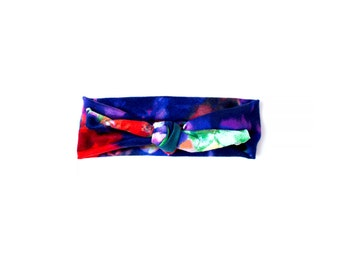 Blue tone watercolor top knot headband