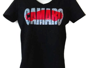 Chevy Camaro Womens Black Glittery T-Shirt