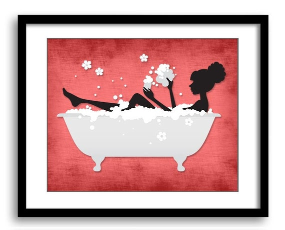 Red Black Bathroom Decor Bathroom Print Silhouette Girl