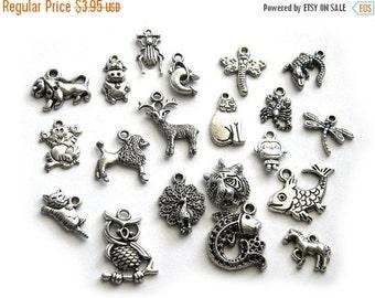 SALE 20 Assorted Silver Animal Charms - Animal Collection