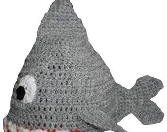 Hand Crocheted Shark Hat