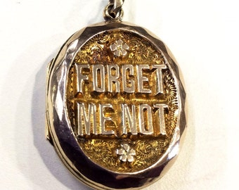 Victorian gold locket , forget me not