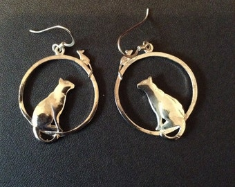 Silver cat and mouse earrings