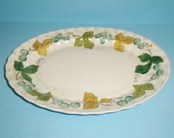 Metlox Vineyard Platter California Vernon Ware 13.75 Inches Vintage Oval Serving Platter With Grapes Vines and Leaves