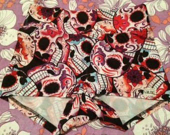 Sugar Skull Roller Derby Shorts, Purple Tones.
