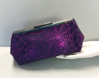 Halloween Clutch. Purple Spider Web Fabric Bag. Silver Metal Purse Clasp. From MDS Creative.