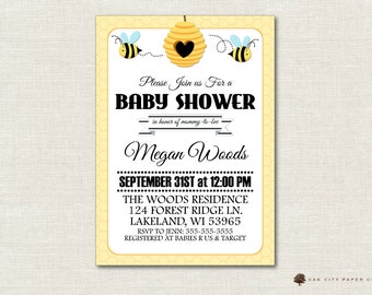 Honey Bee Baby Shower Invitation, Bee Baby Shower Invitation, Bumble Bee Baby Shower Invitation, Mommy to Bee Invitation, Instant Download