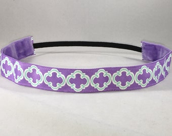 Non-Slip Headband; EmBands - Purple Quatrefoil Non-Slip Headband; Yoga Headband; Soccer Headband; Workout Headband; Nurse Headband