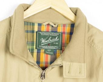 WOOLRICH Linden Jacket / tan  / mens large / khaki / members only / golf / retro / chore coat