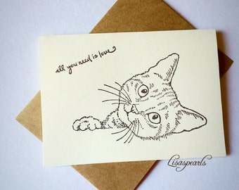 7 cat blank note cards and 7 envelopes . All occasion cards .