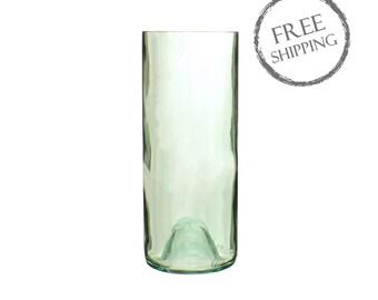 Aqua Tinted Cylinder Wine Bottle Vase
