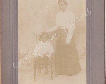 African American Mother and Daughter -Vintage Photo - Cabinet Card