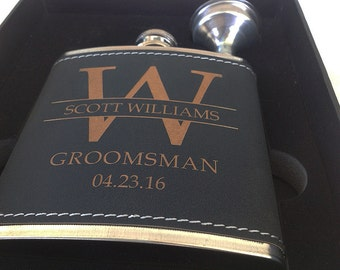 8 Groomsmen Leather Flask Set for Weddings, Best Man Flask-Groomsmen Flask- Bachelor Party Flask-Groomsman Flask-Personalized Wedding Flask