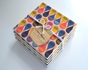 Ceramic Tile Coasters - Vintage Style