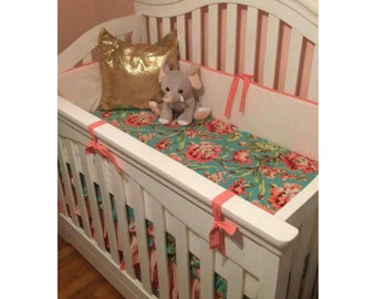 Baby Girl Crib Bedding Floral in Coral and Teal
