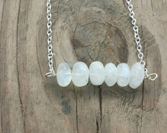 Rainbow moonstone bar necklace