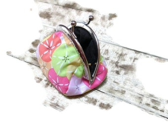 Purses metal clasp 8.5 cm printed fabrics sea urchins,multicolored Cotton made by hand