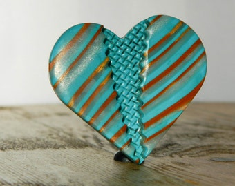 Polymer Clay Pendant in Gold and Aqua