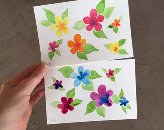Hand-Painted Postcards, Pack of 2 Floral Watercolour Postcards