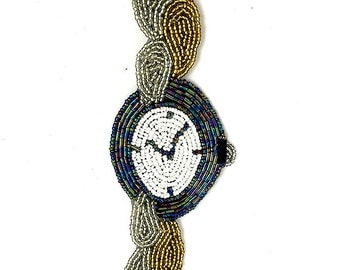 "Sale! Wrist Watch Appliqué Beaded 8.75"" x 2.5"" -jj871-B329-0305"