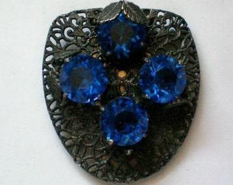 Deep Blue Glass Filigree Dress Clip - 4662