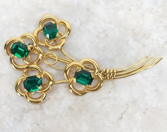 1940s Sterling Coro Craft Brooch // Large Green Emerald Cut Stones, Prong Set // Gold Wash Over Sterling Pin