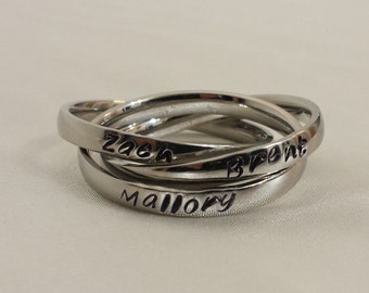 3mm Rolling Ring, Mothers Ring, Name Ring, Message Ring, Wedding Ring-Stainless steel
