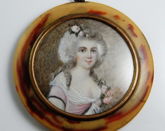 Georgian Jewelry Miniature Portrait Ormolu Pressed Horn Portrait Miniature Marie Antoinette Antique Portrait Painting 18th Century Wig Gilt