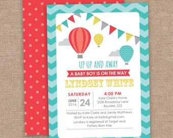 UP UP and Away Baby Shower Invitation, Hot Air Balloon, Red Aqua Mustard Gray, DIY Printable