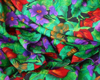 PRINTED SILK JACQUARD Blouse, Dress or Scarf weight in rich floral print 2 yards x 44 inches Red Green Purple Yellow Black