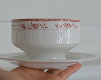 AMCREST Sturbridge Tradition IRONSTONE JAPAN ~ Gravy Boat With Attached Plate