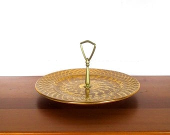 Stangl Gold Tidbit Serving Tray with Handle