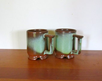 Pair of Footed Prairie Green Frankoma C5 Cups
