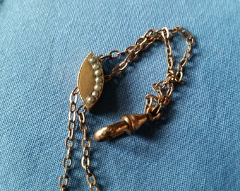 Antique Gold Filled Seed Pearl Slide Chain