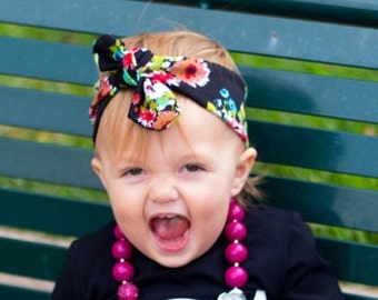 Black Floral Headwrap for Babies, Toddlers, and Girls. Knotted headband.