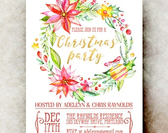Printable Christmas Party Invitation - holiday party invitation, holiday invitations, holiday party invitation template