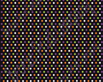 Black with purple, green, orange and white mini polka dots craft  vinyl sheet - HTV or Adhesive Vinyl -  polka dot Halloween pattern HTV2331