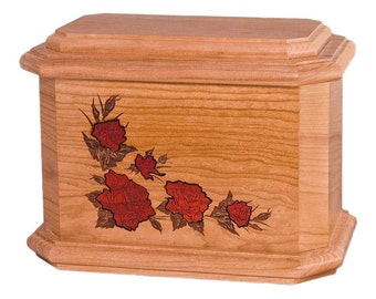 Natural Cherry Octagon Roses Wood Cremation Urn