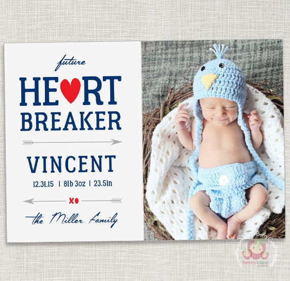 Baby Birth Announcement - Valentine's Card - Future Heartbreaker - Printable - Boy or Girl