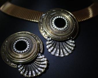 Big, Bold, Bulatti, Etruscan, Egyptian Revival Vintage Demi Parure