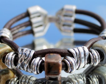 brown Leather Bracelet with ceramic
